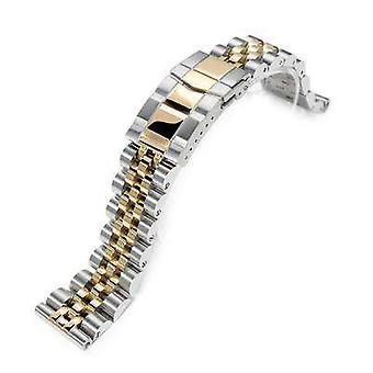 Strapcode watch bracelet 22mm angus jubilee 316l stainless steel watch bracelet straight end 1.8 universal ver., two tone ip gold, submariner clasp