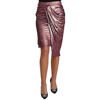 Weave Pencil Rose Gold Wrap Fitted Midi Skirt -- TSH3814832