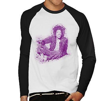 Jimi Hendrix relajante en béisbol Mayfair 1969 hombres largo manga camiseta