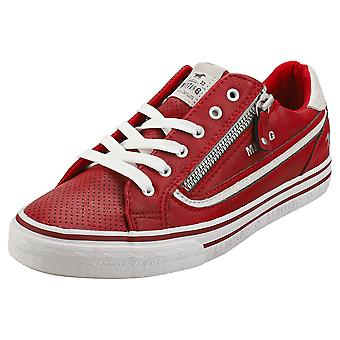Mustang Lace Up Side Zip Womens Fashion Trainers in Red