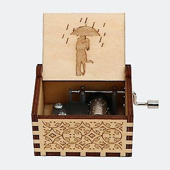 Kiss The Rain Antique Carved Hand Cranked Wooden Music Box