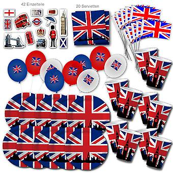 Engeland UK Party Set XL 101-stuk voor 10 gasten Party EnglandParty Great Britain Birthday Deco Party Pakket