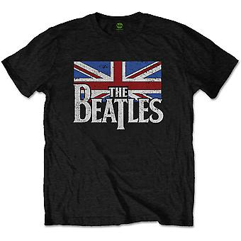 Svart The Beatles Drop T Logo & Vintage Flag officiella T-shirt Unisex