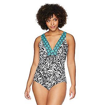 Brand - Coastal Blue Women's Standard V Neck 1 Piece, Flowering Fern, ...