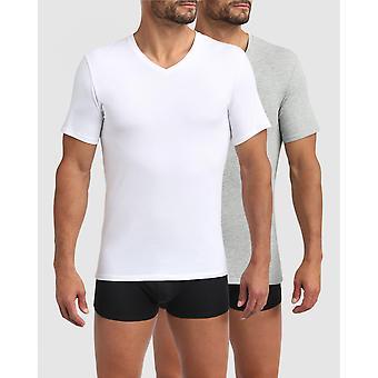 Pack De 2 T-shirts Homme Blanc/gris