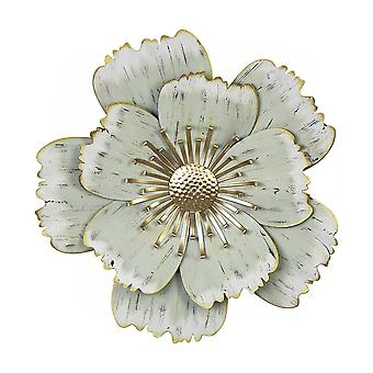 Flower Metal Wall Decor with Distressed Brush Finish