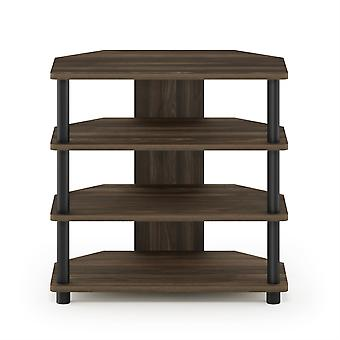 Furinno Turn-N-Tube Easy Assembly 4-Tier Petite TV Stand, Columbia Walnut/Black