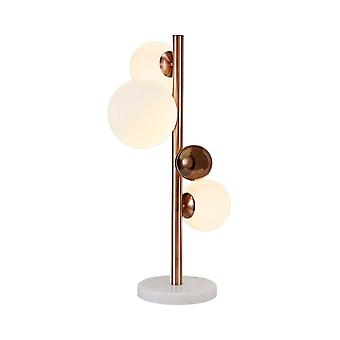 Table Lamp, 3 x G9, Antique Copper, Opal & Copper Glass