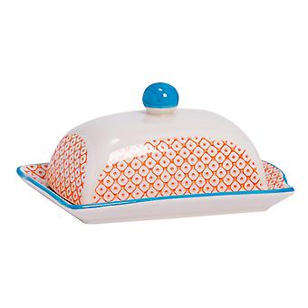 Nicola Spring Hand-Printed Butter Dish with Lid - Japanese Style Porcelain Kitchen Container - Orange - 18.5 x 12cm