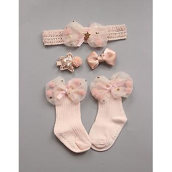 Nou-născut Princess Anti Slip Șosete -cu volan de dantelă