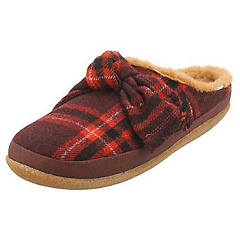 Toms Ivy Womens Slippers Schoenen in Red Black Plaid
