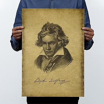 Musician Beethoven Vintage Kraft Paper Movie Poster Home / School Office Wall