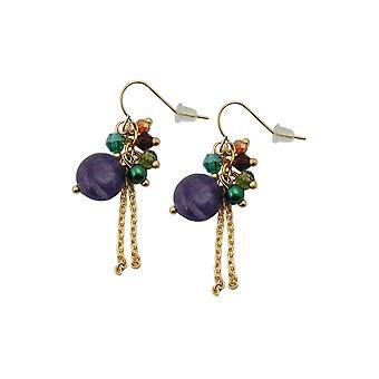 krok øredobber stein glass perler multi farge