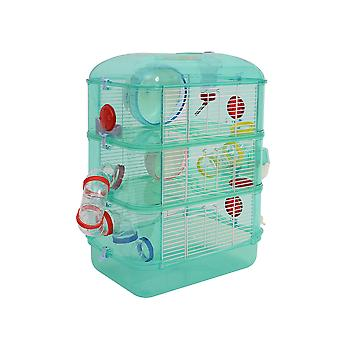 PawHut 3 Storey Hamster Cage Small Pet Animal Cage w/ Exercise Wheel Food Water Bowl Multi Activity Exercise Centre Green