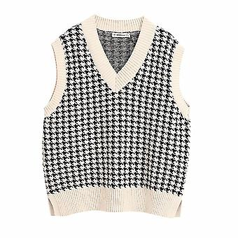 Fashion Houndstooth Loose Knitted Vest Sweater V Neck Sleeveless Female