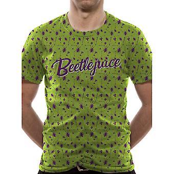 Beetlejuice Adults Unisex Beetle Pattern Premium T-Shirt