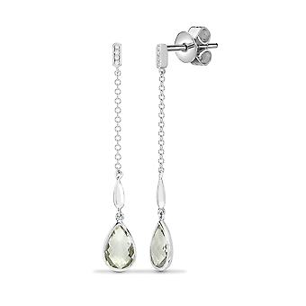 Jewelco London 18ct White Gold Rubover 0.03ct Diamond and Pear Green 2.2ct Amethyst Lively Tears of Joy Drop Earrings