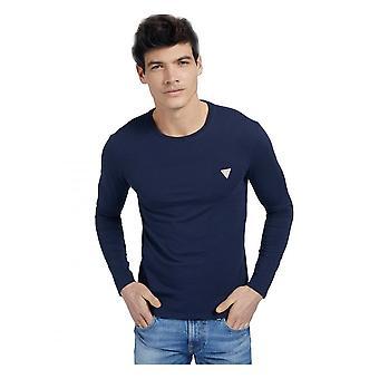 GJETT Gjett menn's Organisk Kjerne Langermet T-skjorte Suiting Blue