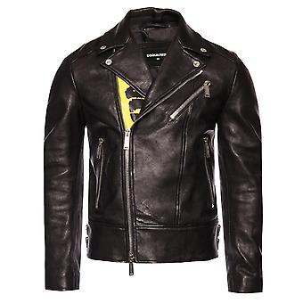 Dsquared2 Large Print Biker Leather Jacket