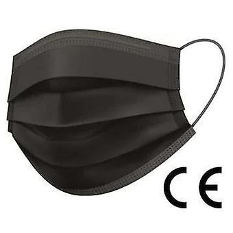Maske, CE-godkendt, IIR-klasse, 3-lags filter, 200 stk., ansigtsmaske, sort