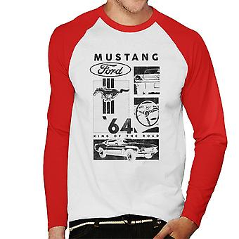 Ford Mustang 64 King Of The Road Men''s Baseball Long Sleeved T-Shirt