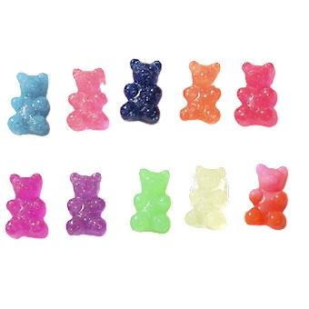 Bear Charms Resin Cabochons Glitter Gummy Candy Necklace Keychain