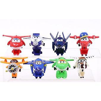 Super Wings Mini Planes, Vliegtuig Robots Donnie Dizzy Mira Jett Paul (12st)