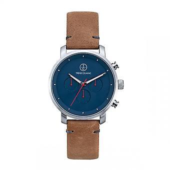 Trendy Classic horloge CC1045-05-impuls chronograaf Bo tier staal zilver lederen armband bruin blacking blauwe mannen