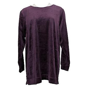 Denim & Co. Women's Sweatshirt Plus Velour Tunic Pockets Purple A399179