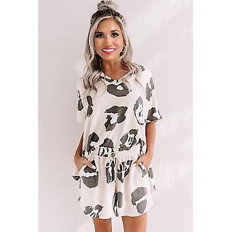 White Black Print Short Pajamas Set