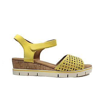 Caprice 28710-648 Yellow Nubuck Leather Womens Wedge Sandals