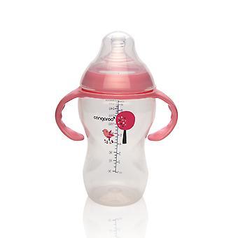 Baby flaske, drikke flaske Tiki 300 ml rød, silikon støvsuger anti-kolikk fra 3 måneder