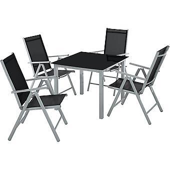 tectake Hagemøbler i aluminium 4+1 - sølv/grå