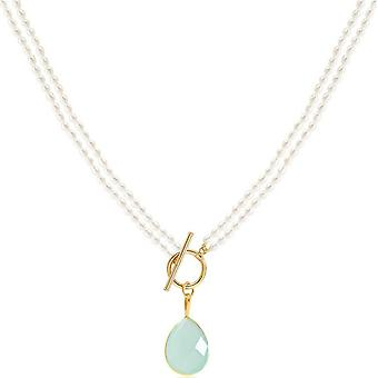 Pearls of the Orient Clara Double Strand Chalcedony Drop Necklace - Aqua Blue