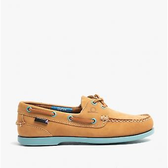 Chatham Pippa Ii G2 Ladies Leather Boat Shoes Tan/turquoise