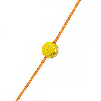 Smiley yellow vermeil cord bracelet and orange cord 'apos;Sympa'apos;