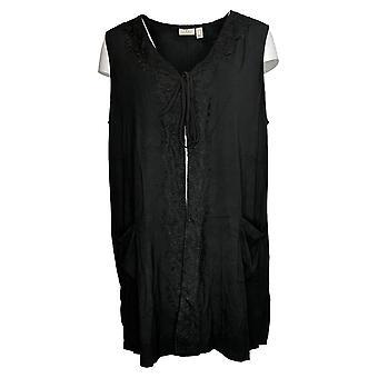 LOGO by Lori Goldstein Women's Top Tie Front Lace Trim Vest Black A347714