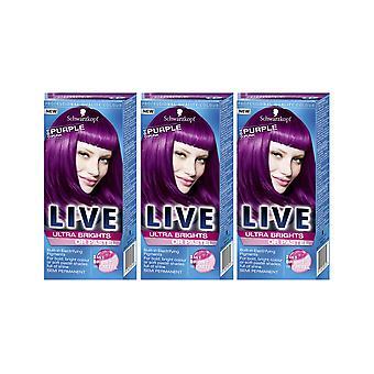 Schwarzkopf Ultra Brights 094 lila rosa Semi-Permanent Farbe Haarfärbemittel x 3