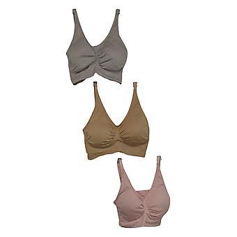 Rhonda Shear 3-Pack Seamless Adjustable Strap Ahh Bra Pink 737165