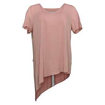 Lisa Rinna Collection Women's Top V-Neck With Chiffon Detail Pink A344183