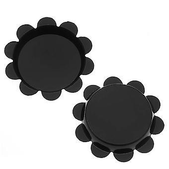 Final Sale - New Black Flower Bottle Caps Craft Scrapbook Jewelry No Liners 25mm (24)