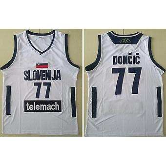 Men's Luka Doncic #7 Real Madrid White Basketball Jersey Stitched Letters And Numbers S-xxl