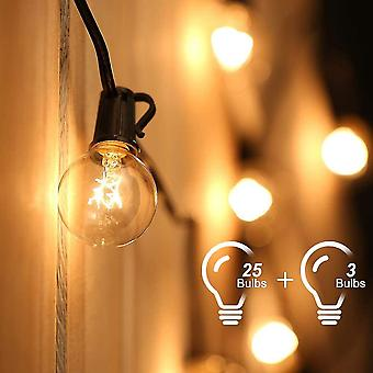 String lights connectable to 25 g40 bulbs 7.62m waterproof string - with 3 spare bulbs dt5919