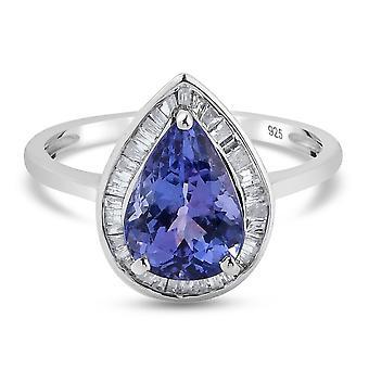 TJC Tanzanite Halo Ring 9K Weißgold Jahrestagsgeschenk weiß Diamant 2,34 ct