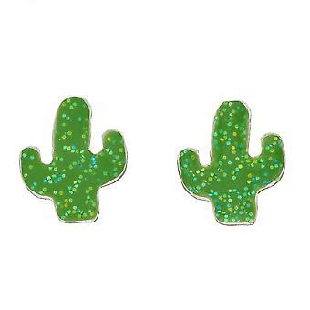 Inicios Cactus Enamel Stud Glitter Pendientes A2068