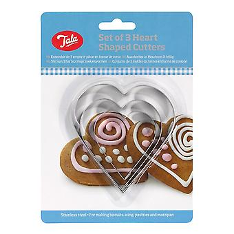 Tala Plain Heart Cutters - Rostfritt stål (Uppsättning av 3)