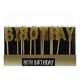 נרות מכתב זהב - יום הולדת 80