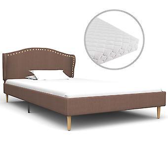 vidaXL bed with mattress Brown fabric 90 x 200 cm