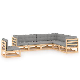 vidaXL 7 pcs. Garden Lounge Set with Cushion Pine Solid Wood