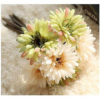 Artificial Daisy Flower Bride And Bridesmaid Bouquet 7 Branches Daisy Flower Diy Decoration Champagne Green